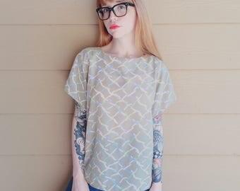 Sheer Pastel Abstract Art Print Boxy Oversized Vintage VTG Blouse Top // Women's size Medium M