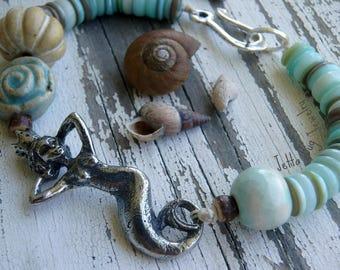 Ariella- mermaid bracelet. artisan mermaid. water blues. earthy tans. pebble browns. artisan ceramic. beachy boho bracelet.  jettabugjewelry