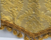 Two Vintage Brocade Drapery Remnants, gold  jacquard material, craft projects drapery fabric with tassels