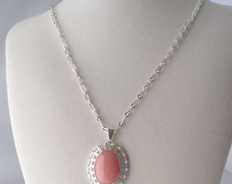 Pink Candy Jade Pendant on Silver Chain