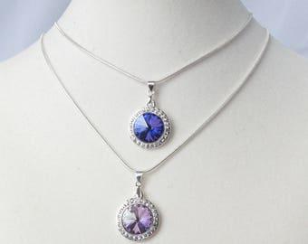 Blue or Light Purple Crystal Rivoli and Rhinestone Pendant on Adjustable Silver Snake Chain
