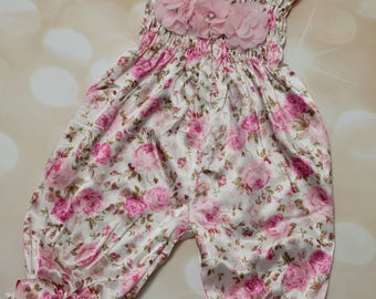 Floral Satin Bubble Romper Satin Sleeveless Romper with Ruffled Bottom and Straps