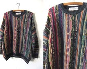 Fresh Prince Style Throwback Sweater - In Living Color 90s Baggy Vintage Jumper - Mens Medium