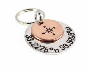 GPS Key Chain, Coordinates Key chain, Latitude Longitude, Wedding Gift, Gifts for Him, Personalized Custom Key Ring,  Gifts Under 20