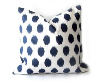 """Blue PILLOW COVER- Navy Blue Ikat  Pillow-Blue Ikat  Pillow- Navy Blue  Pillow .16"""",17"""",18"""",20"""" 24"""" 26"""", Lumbar Pillow or Euro Sham"""