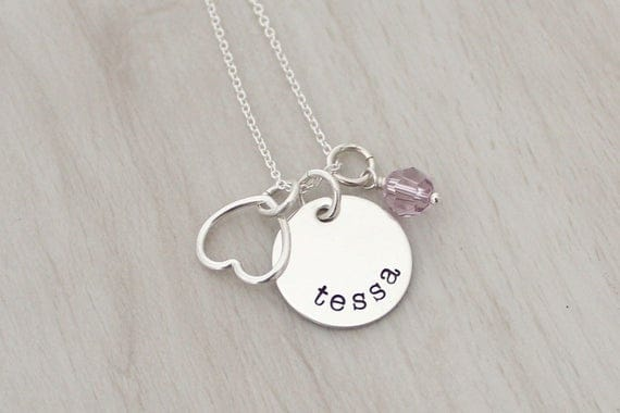 Mother's Necklace - Personalized Name Necklace with a Heart and a Birthstone - Hand Stamped Jewelry