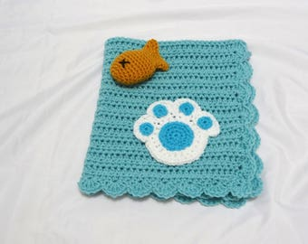 Crochet Light Turquoise Blue Pet Blanket/Cat Blanket/Small Dog Blanket and Fish Toy Set - Ready to Ship