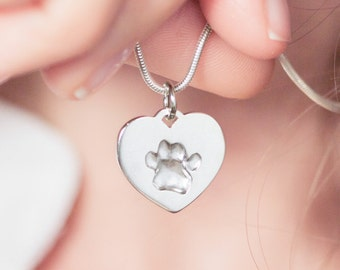 Your pet's own 3D pawprint on a silver heart necklace pendant - dog cat paw print dogprint catprint personalized engraved actual pawprint