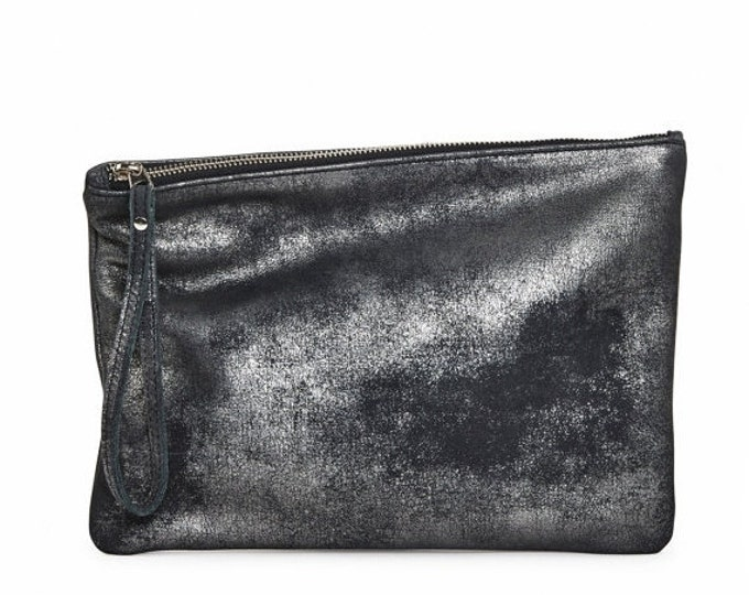 Graphite black shimmer leather clutch, evening bag, foldover clutch bag