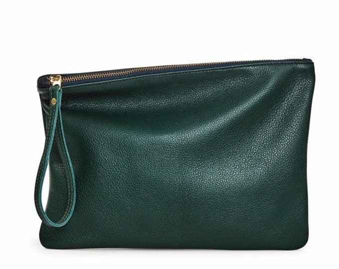 Forest green leather clutch, evening bag, foldover clutch bag