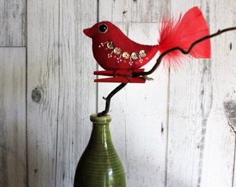 Bird Christmas Ornament, Hand embroidered red felt, with silver and white details