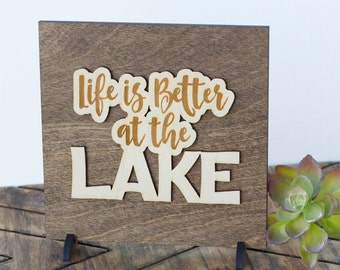 Lake Cottage Decor - Rustic Cabin Sign - Gifts Under 15 - Lake Cabin Gift - Cabin Mantel Decor - Laser Cut Wood - Mini Sign - Gifts for Men