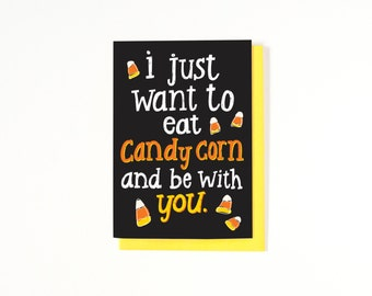 Long Distance Relationship Card - Halloween Love Card - I Miss You Card - Halloween Greeting Card - Candy Corn Card - Fall Card - Autumn