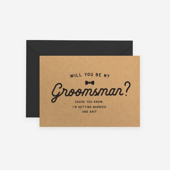 Will you be my groomsman best man groomsmen kraft rustic like this item junglespirit Image collections
