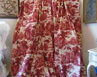 French Mulberry Red Toile Curtain Fabric Panel Scenes de Peche Amelie Prevot