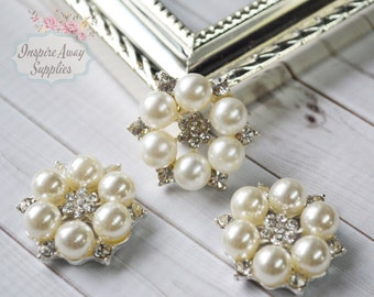 Pearl Rhinestone Button, Flat back button, 27mm pearl, headband embellishment, DIY pearl rhinestone, DIY headband supplies