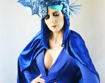 Sapphire Blue sequin floral headdress tiara crown fringe headpiece fascinator hat Kokoshnik fashion accessory