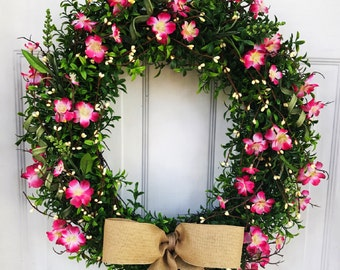 READY TO SHIP!  Boxwood wreath - Cherry Blossom - Summer Wreath - Spring Wreath - Burlap Wreath - Mothers Day Wreath - Grapevine Wreath