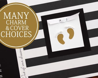 Pregnancy Journal Album | Pregnancy Gift |  Pregnancy Book | Wide Black & White Stripes with Gold Baby Footprints | Gender Neutral