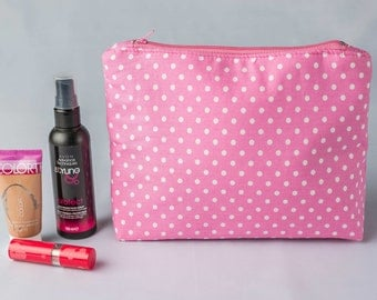 Large Cosmetic Bag,Makeup Bag,Toiletry bag,Cosmetic Pouch,Zip Pouch,Pink Cosmetic Bag,School Supplies,Travel bag,Large Make up Bag