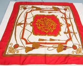 "Vintage Talbots Red Gold Tassel Silk Scarf  35"" Square"