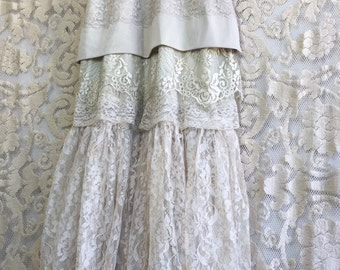 ecru tan & cream lace tiered boho wedding dress by mermaid miss Kristin