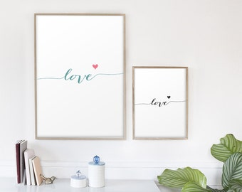 Love sign, word wall art print, love letters, nursery print, valentines day art - 8x10""