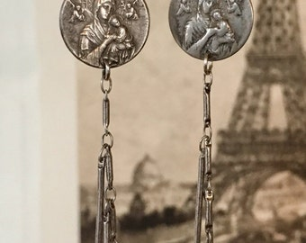 Winged Angels - Religious Vintage Medals Assemblage Earrings