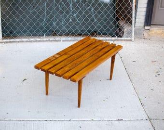 Mid Century Slat Bench/ Coffee Table