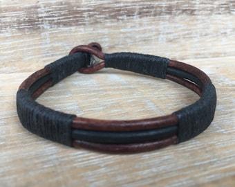 Men's Bracelet, Mens Leather Bracelet, Mens Cuff Bracelet, Mens Rugged Bracelet, Mens Black and Brown Leather Bracelet, Guy Gift, Man Gift