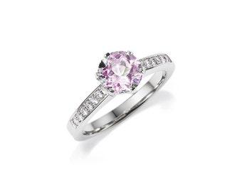 pink morganite engagement ring, white gold, rose gold, yellow gold, unique engagement ring, morganite solitaire, diamond ring, custom rings