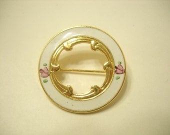 Vintage Guilloche Circle Brooch (6773) Pink Roses