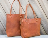 Leather Porter Tote | Leather Tote | Zippered Bag | Zipper | Leather Bag | Brown Leather Tote