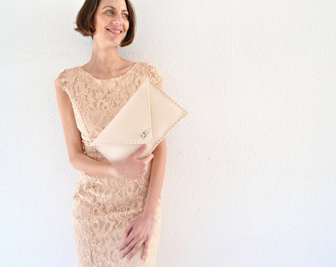Featured listing image: Nude Leather clutch/  Leather handbag / Bridal clutch / Wedding bag /  Envelope clutch / Evening bag / Bridesmaids gift