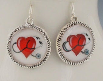 Doctor Nurse Medical Earrings Heart Jewelry Stethoscopes Silver Picture Round 3D Dimensional