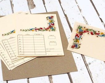 Twelve Vintage Place Setting Score Cards
