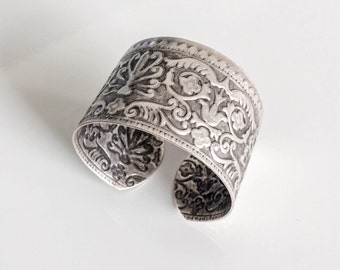 Textured Cuff, Silver Plated Bracelet, Handmade Jewellery, Boho