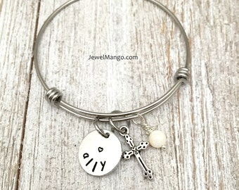Cross bangle bracelet, first communion gift, baptism, name plate, personalized gifts,white bead, cross charm,confirmation gifts,Mother Gifts