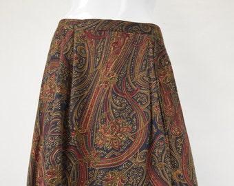 Warm Paisley Print Skirt
