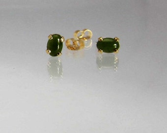 Jade Studs Earrings Natural Nephrite Jade Set in 14Kt Gold Filled or Sterling Silver Stud Posts