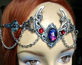 Dragons Breath Opal Circlet, Pagan Crescent Circlet, Renaissance Headpiece