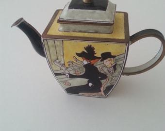 Kelvin Chen MIniature Teapot Enamel On Brass Toulouse Lautrec