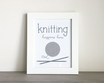 Knitting Happens Here Printable Wall Art