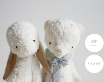 NEW 2-in-1 Sewing Patterns For Women Instant Download PDF Patterns Stuffed Animals White Mohair Teddy Bear Making Bunny Rabbit  6 inches