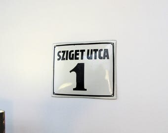 Small Size Hungarian Metal Vintage Street Sign  ''SZIGET UTCA 1''
