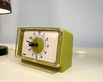 Vintage Retro Electric Alarm Clock Green Avocado color made by ESGE in Germany in the 70s  Home Scandinavian Decor