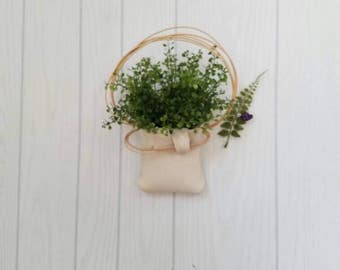 Clay Wall Pocket with Faux Plant Farmhouse