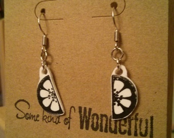 fruit Earring's- lemon slices-black and white jewelry- dangle earrings