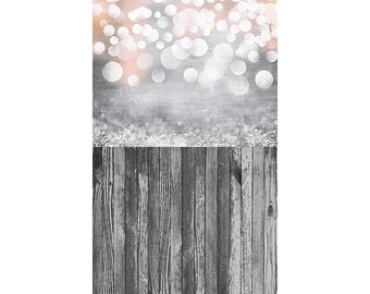 Silver Iced Bokeh and Gray Country Wood - Vinyl Photography  Backdrop Photo Prop
