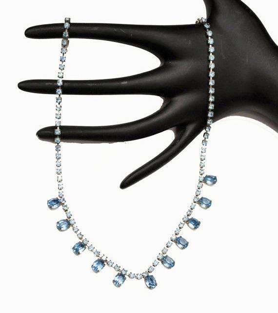 Blue Rhinestone Neckace - mid century - Light blue crystal -princess legnth - bride wedding